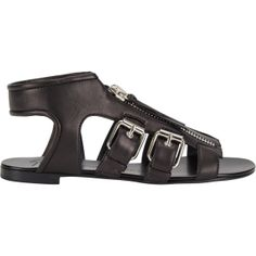 Giuseppe Zanotti Multi-Buckle Flat Sandals at Barneys.com