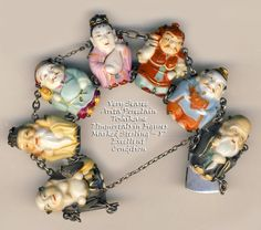 Vintage Toshikane Arita Porcelain Figural Immortals in SIlver Bracelet ~ R C Larner Buttons at eBay  http://stores.ebay.com/RC-LARNER-BUTTONS