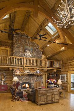 over the top luxury log home bathrooms | Log Homes Floor Plans from Montana Log Homes