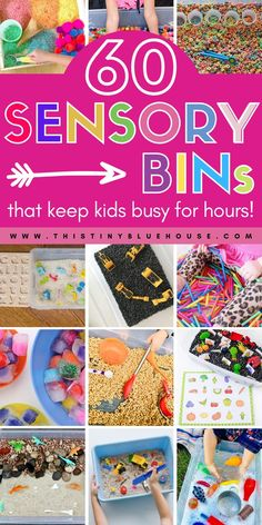 Encourage young kids to use their senses to discover, create, explore and LEARN through play with these 60 super fun sensory bin activities for young kids. Baby Sensory, Sensory Bins, Sensory Activities, Sensory Play, Family Activities, Learning Through Play, Kids Learning, Indoor Activities For Toddlers, Fun Bridal Shower Games