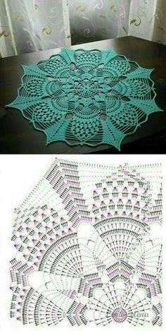 Crochet Table Runner Pattern, Free Crochet Doily Patterns, Crochet Doily Diagram, Crochet Flower Tutorial, Crochet Circles, Crochet Tablecloth, Crochet Designs, Crochet Carpet, Crochet Dollies