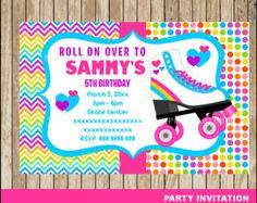 80% OFF SALE Roller Skating invitation; Roller Skating Birthday invitation, Roller Skate party Invitation Digital File