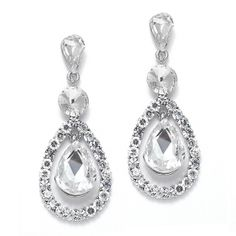 Lustrous Wedding or Prom Drop Earring with Pears