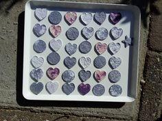 blue paper pulp hearts \ blauwe hartjes van papier pulp