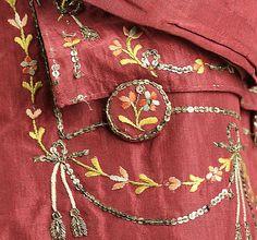 Detail from a 18th century silk court suit    metropolitan museum