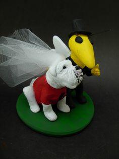 Custom made to order Buzz and Bulldog college mascot wedding cake toppers. $235 www.magicmud.com 1 800 231 9814 magicmud@magicmud... blog.magicmud.com twitter.com/... $235 #mascot #collegemascot #hokie #ms.wuf #gators #virginiatech #football mascot #wedding #toppers #custom #Groom #bride #weddingcaketoppers #caketoppers www.facebook.com/... www.tumblr.com/... instagram.com/... magicmud.com/Wedding photos.htm
