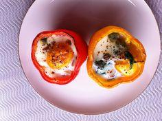 Wessels Küchenwelt, Eiweiß-Rezept -  leichte Linie, Paprika gefüllt mit Spinat und Ei, gefüllte Paprika