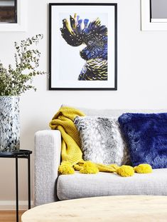 Different yellow living room brown furniture that look beautiful Yellow Living Room Accessories, Grey And Yellow Living Room, Grey And White Cushions, Yellow Cushions, Dining Room Art, Living Room Decor, Light Gray Couch, Grey And White Wallpaper, Yellow Wall Decor