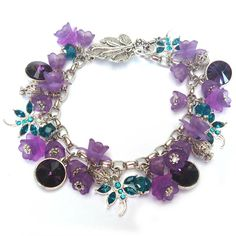 PURPLE  PINK BRACELET 1. Glue each of the four 12mm crystal cabochon to a matching setting. Allow to dry. Use a jewellers glue like E6000 o...