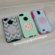 Monogrammed Otterbox Phone Cases for iPhone 4/4S, 5/S & 5c and Samsung Galaxy S3 & S4 www.personalizedfrommetoyou.com