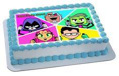 Teen Titans Go 4 Edible Birthday Cake Topper OR Cupcake Topper, Decor - Edible Prints On Cake (Edible Cake &Cupcake Topper) Birthday Cakes For Teens, 6th Birthday Parties, Baby Birthday, Birthday Bash, Edible Cake Toppers, Birthday Cake Toppers, Cupcake Toppers, Cupcake Cakes, Cupcakes
