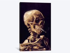 Charlton Home Skull With Cigarette by Vincent van Gogh 3 Piece Painting Print on Wrapped Canvas Set Size: H x W x D 3 Piece Painting, Painting Prints, Wall Art Prints, Canvas Prints, Painting Art, Vincent Van Gogh, Crane, Van Gogh Paintings, Reproduction