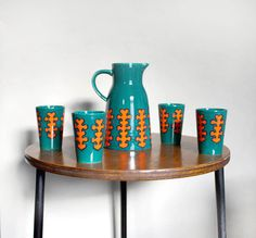1970s Ceramic Jug and Four Cups. Jade Green and by ProjectSarafan