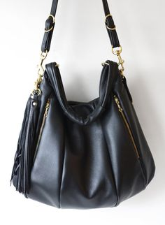 Black Leather bag OPELLE Lotus Weekender NEW by opellecreative $450