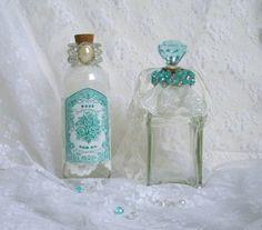 Beach Blue Bath Bottles Altered Bottle Art Set of 2 by CraftyMJC, $28.50
