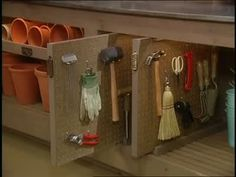 Martha Stewart shares how to create a pegboard vertical shelf drawer for your counter in a shed. Once completed, many different tools can be hung on it :: view video ::
