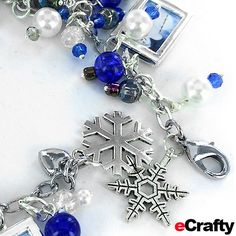"DIY Customized Winter ""Frozen"" Charm Bracelet Recipe from eCrafty.com #charm #charms #diy #jewelry #frozen #snowman #snowflakes #blue #white #beads #beading"