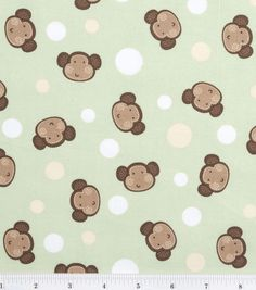 Novelty cotton fabric laughing monkey green monkey for Nursery monkey fabric