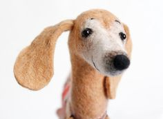 Dachshund - Meggie, Art Toy,  Felted Cute Stuffed Toy, Lovely Dog. Soft toy dog. caramel, cream, honey. SPECIAL ORDER for Kirsten.