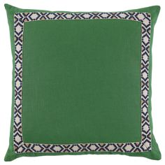 D942 Lacefield Kelly Linen 24x24 Pillow with Camden Tape  www.lacefielddesigns.com #emeraldgreen #pillows #interiors #lacefielddesigns