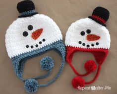 "Crochet Snowman Hat Pattern, sizes infant thru adult, from Repeat Crafter Me. >> These are rather cute, although I think the little snowman ""hat"" on top might make the physical hat a bit top-heavy. Bonnet Crochet, Crochet Baby Hats, Knit Or Crochet, Crochet For Kids, Crochet Crafts, Crochet Projects, Free Crochet, Ravelry Crochet, Crocheted Hats"