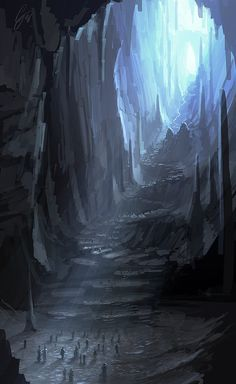 With this image I really like the size of the cavern as its around the size i was looking for with a really good winding path. I also like the light being cased down from above.