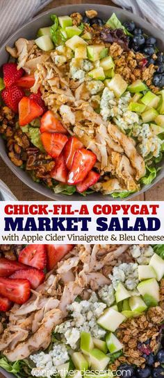 Chick-fil-A Market Salad with seasoned sliced chicken, blue cheese, apples, strawberries, blueberries, granola and roasted walnuts covered with an apple cider vinaigrette. | #salad #copycat #chickfila #dinnerthendessert #chicken #strawberry #bluecheese Salad Recipes For Dinner, Dinner Salads, Chicken Salad Recipes, Chick Fil A Chicken Salad Recipe, Chick Fil A Dressing Recipe, Chick Fil A Market Salad Recipe, Chickfila Chicken Salad, Salads For Lunch, Green Salad With Chicken