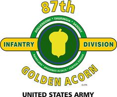 "87th Infantry Division "" Golden Acorn"" United States Army Shirt.  WORLD WAR II  Mediterranean & European Campaigns: Rhineland* Ardennes-Alsace* Central Europe.  (August 1945 Location: Fort Benning, Georgia)  (Killed In Action: 1,154)  (Wounded In Action: 4,342)  (Died Of Wounds: 141"