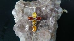 Amber Silver Cross With Chain