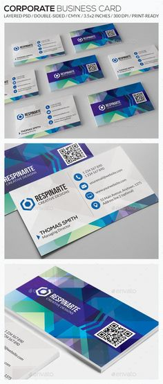 Corporate Business Card - by respinarte Features:Double-Sided Horizontal Orientation Square Corners CMYK Color Mode Resolution: 300 DPI Print Dimensions: inches