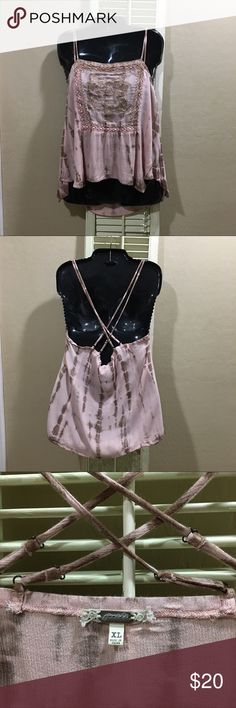 """Gimmicks double, spaghetti strap top. Only worn once. Shelf 100% rayon, contrast 100% cotton. Hand wash, hang dry, low steam. Straps are adjustable. Length, measuring at center top to center hem is 16.5"""". gimmicks Tops Tank Tops"""