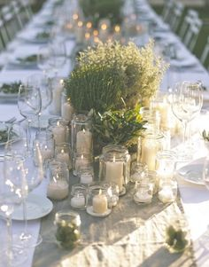 "Beautiful Tuscan inspired table setting with candles and herbs to use as decoration for your wedding or celebration at Villa l'Antica Posta ""Il Villino"" luxury holiday home near Montepulciano, Tuscany / Umbria, Italy perfect destination wedding location"