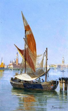 Antonietta Brandeis (1849-1920)  Fishing boat in the Laguna, Venezia  Olio su tavola, 23,5 x 14 cm Coll.privata