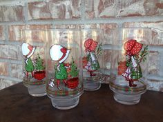 Set of 4 - Vintage Holly Hobbie Limited Edition Coca cola Christmas Drinking glasses - I have the one w the red hat
