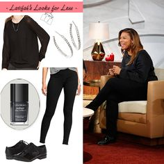 All black in a sheer long-sleeve, leggins, and oxfords | My Look for Less: 10.14.14 | Queen Latifah