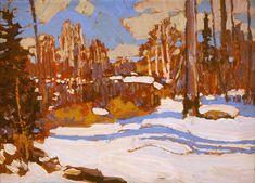 Tom Thomson - Art Nouveau, Arts&Crafts & Post Impressionnism - Woods in Winter, 1917 Winter Landscape, Landscape Art, Landscape Paintings, Canadian Painters, Canadian Artists, Winter Trees, Winter Art, Ontario, Group Of Seven Paintings