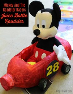 Mickey And The Roadster Racers is a favorite Disney Junior show of ours! We made these adorable Mickey And The Roadster Racers craft: juice bottle racers!  AD