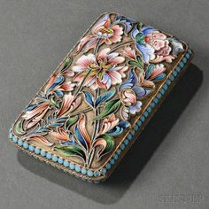Russian .875 Silver-gilt and Shaded Cloisonné Enamel Case, attributed to Maria Semyonova, Moscow, 1896-1908