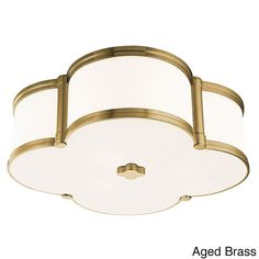 Comes in aged brass, old bronze and polished nickel with white shade. This fixture is made of metal and glass.