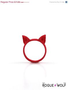 50% OFF -- Cat Ears Ring in red - A red cat ears ring to adorn your hands