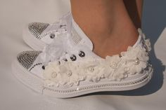 wedding converse trainers with crystals lace & pearls. Bedazzled Converse, Converse Wedding Shoes, Wedding Sneakers, Converse Style, Lace Sneakers, Prom Shoes, Converse Shoes, Wedding Tennis Shoes, Bridal Wedding Shoes