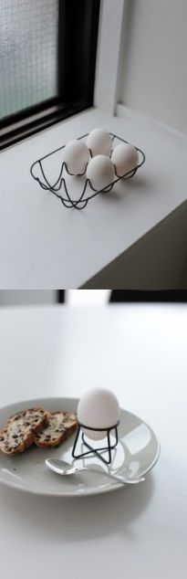 // Wire egg holder.   Designer Naoto Fukasawa