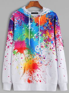 SheIn offers White Paint Splatter Print Drawstring Hooded Pocket Sweatshirt & more to fit your fashionable needs. Sweatshirts Online, Hooded Sweatshirts, Hoodies, Mode Outfits, Girl Outfits, Fashion Outfits, Fashion Ideas, Indian Fashion Trends, Cooler Look