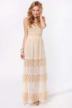 Splendor's Game Cream Lace Maxi Dress