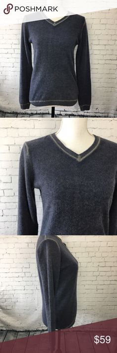 """💕Autumn Cashmere V Neck Sweater Luxurious and soft cashmere sweater from Autumn Cashmere brand in a pretty slate blue. Gray contrasting on the seams makes this unique and fresh. 100% cashmere. Size small. Approx 24"""" long and 18"""" across the chest when laying flat. Excellent condition. Has very small hole on upper back area near tag of sweater. See photo. Autumn Cashmere Sweaters V-Necks"""