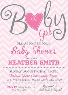 Chevron Heart Baby Shower Invitation  Pink or by PartyPopInvites