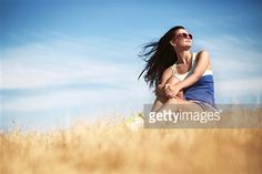 Girl relaxing in the field
