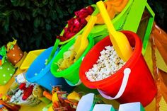 summer Beach Birthday Party decorations for food, shovels, buckets