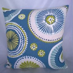 Retro abstract  cushion/pillow cover in blue by CraftyLittleSharon
