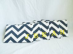 Set of 5 - Embroidered Makeup bag - Personalized Chevron Pouch -  Medium on Etsy, $57.50